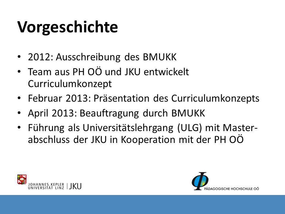 Vorgeschichte 2012: Ausschreibung des BMUKK