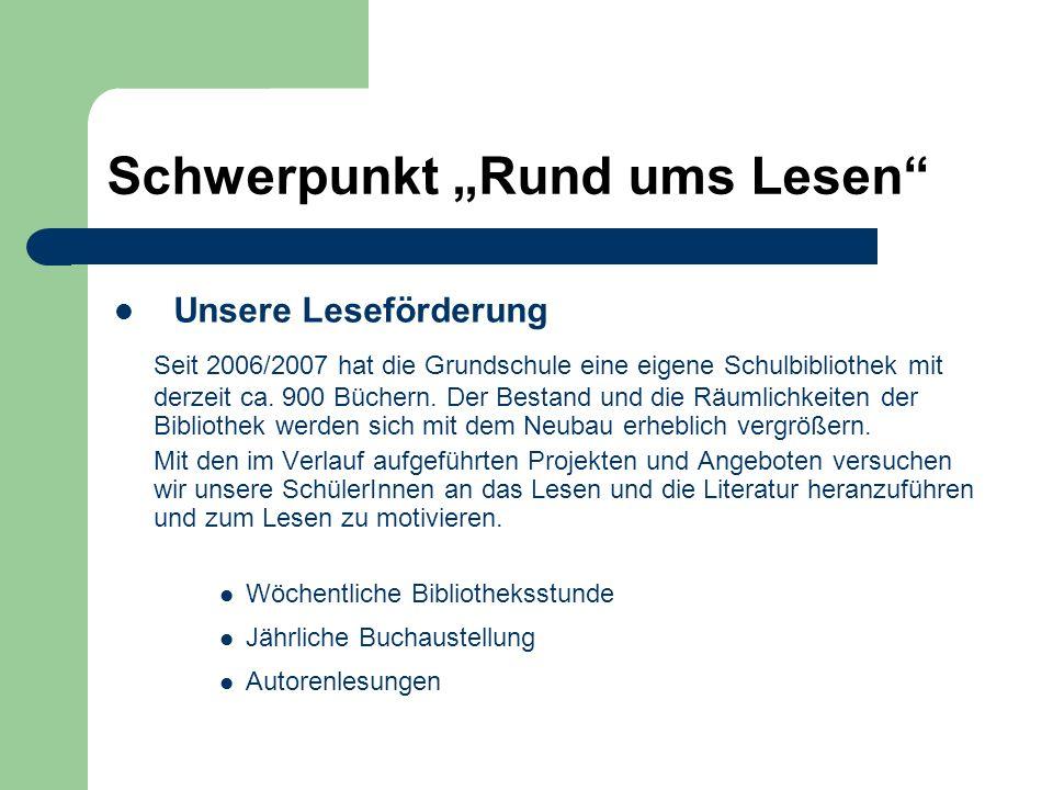 """Schwerpunkt """"Rund ums Lesen"""