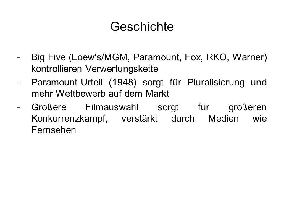 Geschichte Big Five (Loew's/MGM, Paramount, Fox, RKO, Warner) kontrollieren Verwertungskette.