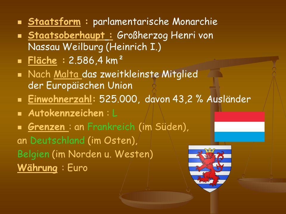 Staatsform : parlamentarische Monarchie