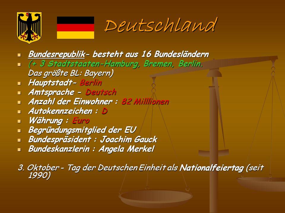 Deutschland Bundesrepublik- besteht aus 16 Bundesländern