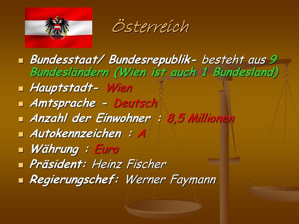 Österreich Bundesstaat/ Bundesrepublik- besteht aus 9 Bundesländern (Wien ist auch 1 Bundesland) Hauptstadt- Wien.