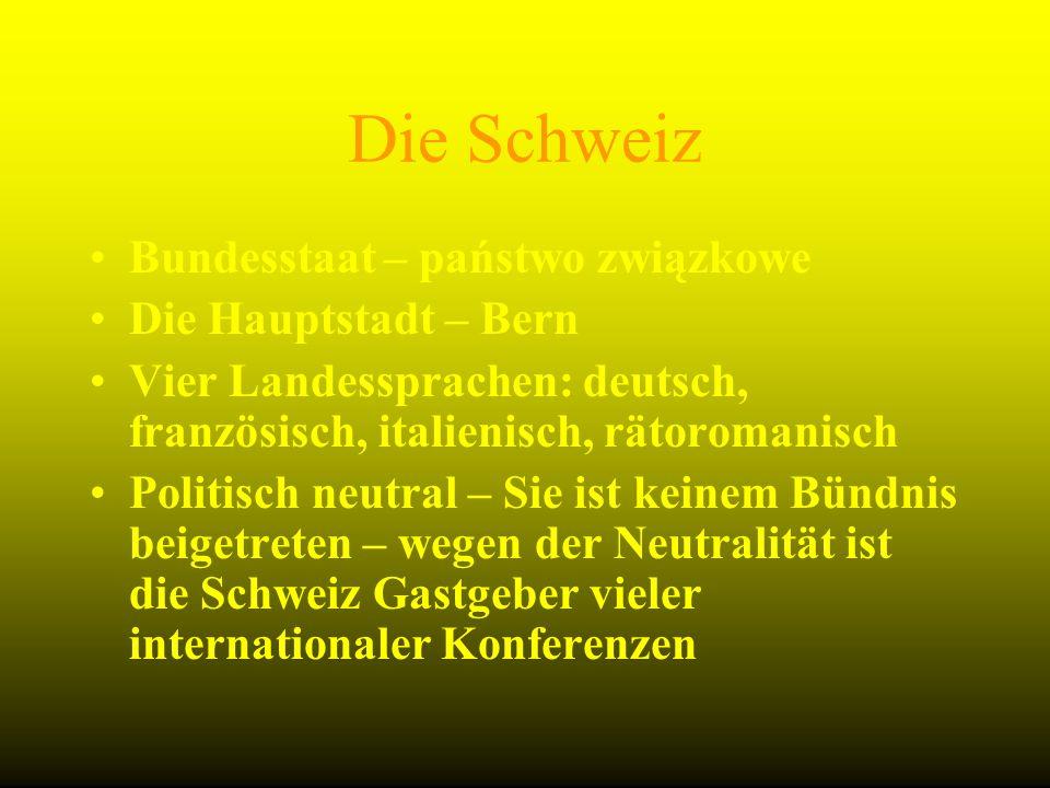 Die Schweiz Bundesstaat – państwo związkowe Die Hauptstadt – Bern