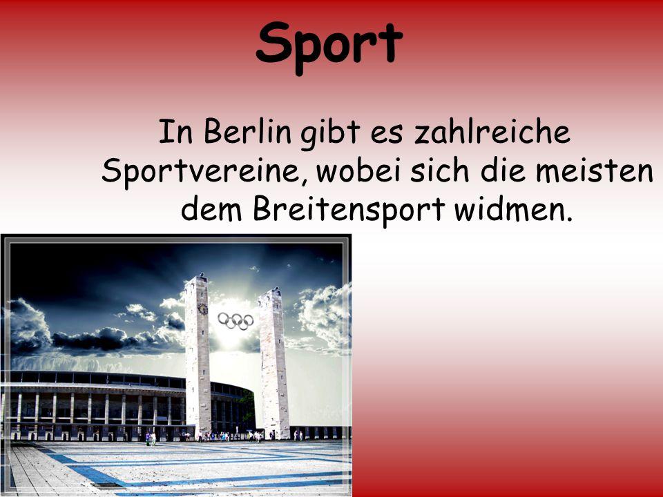 Sport In Berlin gibt es zahlreiche Sportvereine, wobei sich die meisten dem Breitensport widmen.