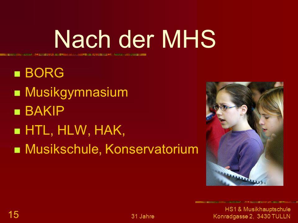 Nach der MHS BORG Musikgymnasium BAKIP HTL, HLW, HAK,