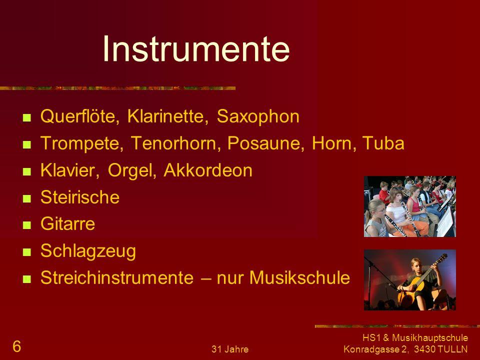Instrumente Querflöte, Klarinette, Saxophon