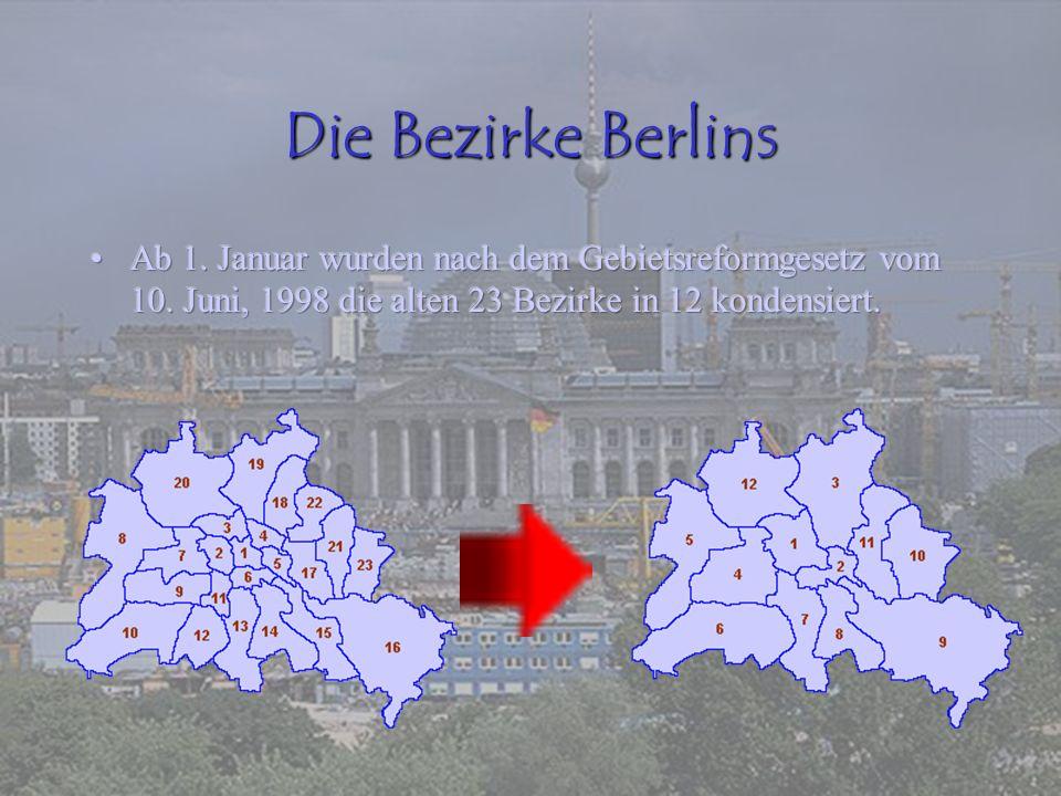 Die Bezirke Berlins Ab 1. Januar wurden nach dem Gebietsreformgesetz vom 10.