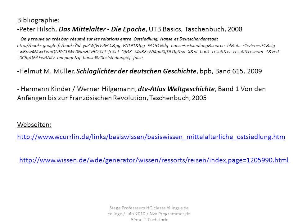 Bibliographie: Peter Hilsch, Das Mittelalter - Die Epoche, UTB Basics, Taschenbuch, 2008.