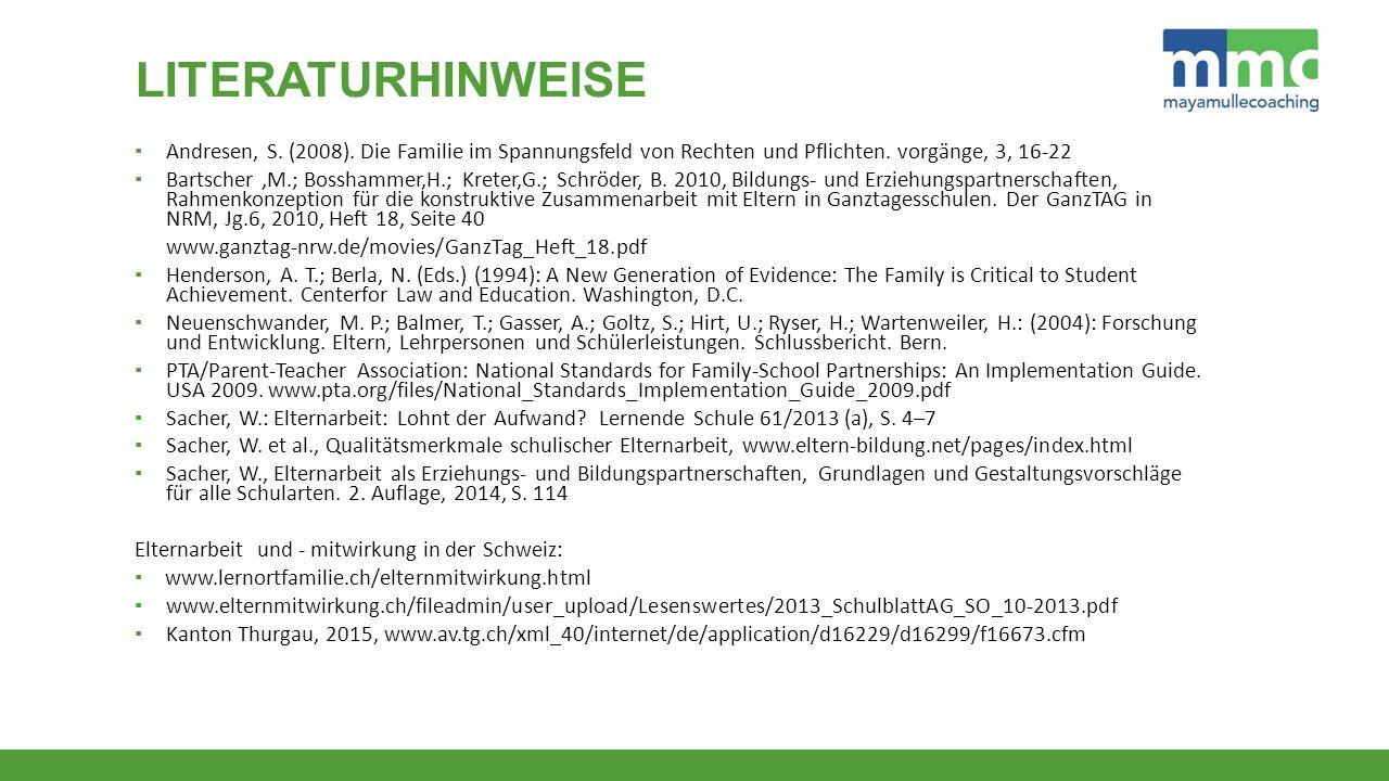 Literaturhinweise Andresen, S. (2008). Die Familie im Spannungsfeld von Rechten und Pflichten. vorgänge, 3, 16-22.