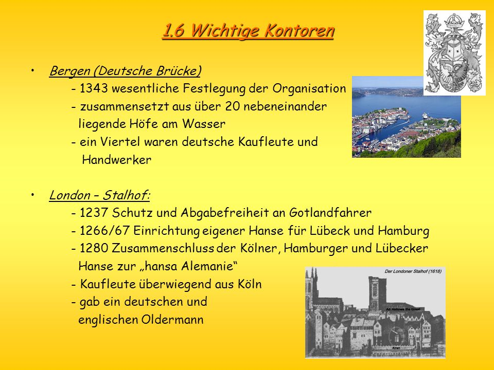1.6 Wichtige Kontoren Bergen (Deutsche Brücke)