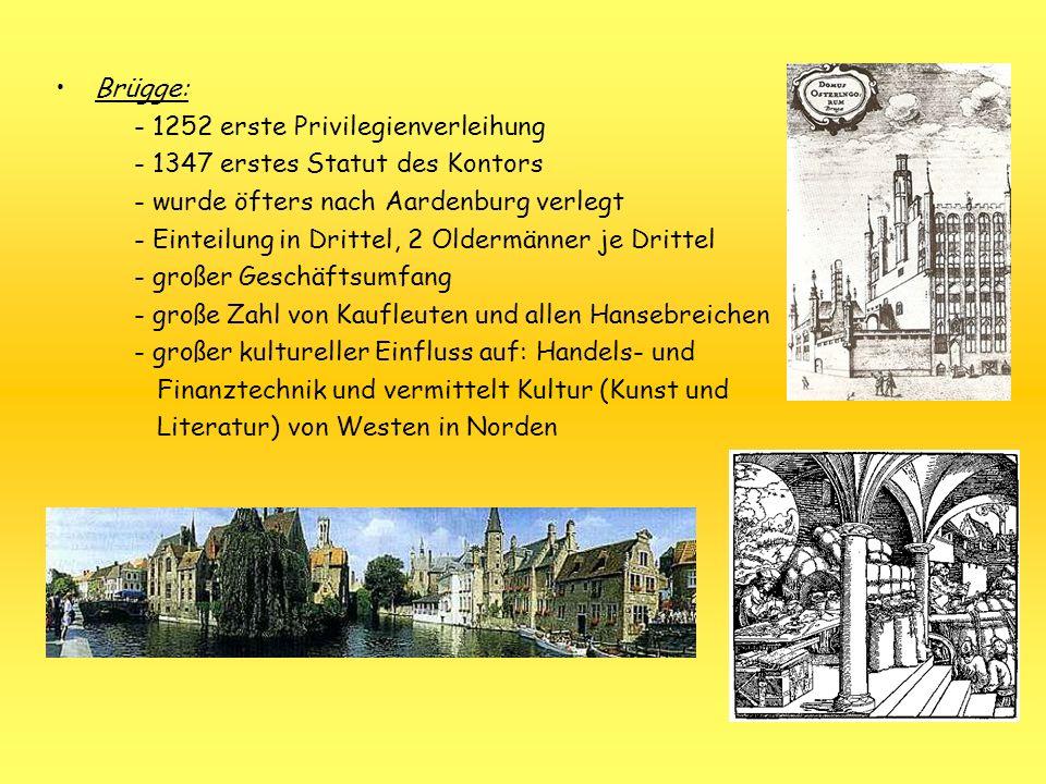 Brügge: - 1252 erste Privilegienverleihung. - 1347 erstes Statut des Kontors. - wurde öfters nach Aardenburg verlegt.