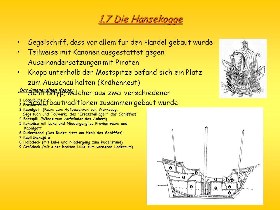 1.7 Die Hansekogge Segelschiff, dass vor allem für den Handel gebaut wurde. Teilweise mit Kanonen ausgestattet gegen.