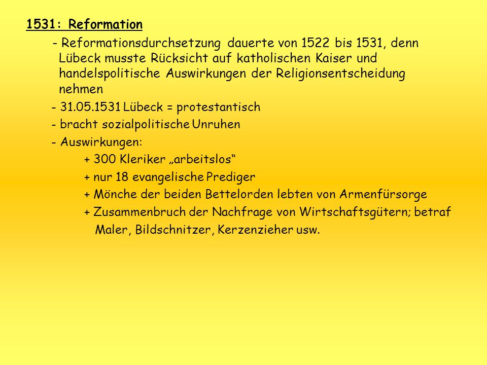 1531: Reformation