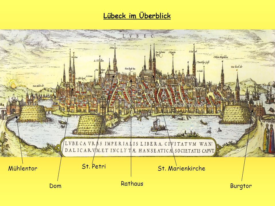 Lübeck im Überblick St. Petri Mühlentor St. Marienkirche Rathaus Dom