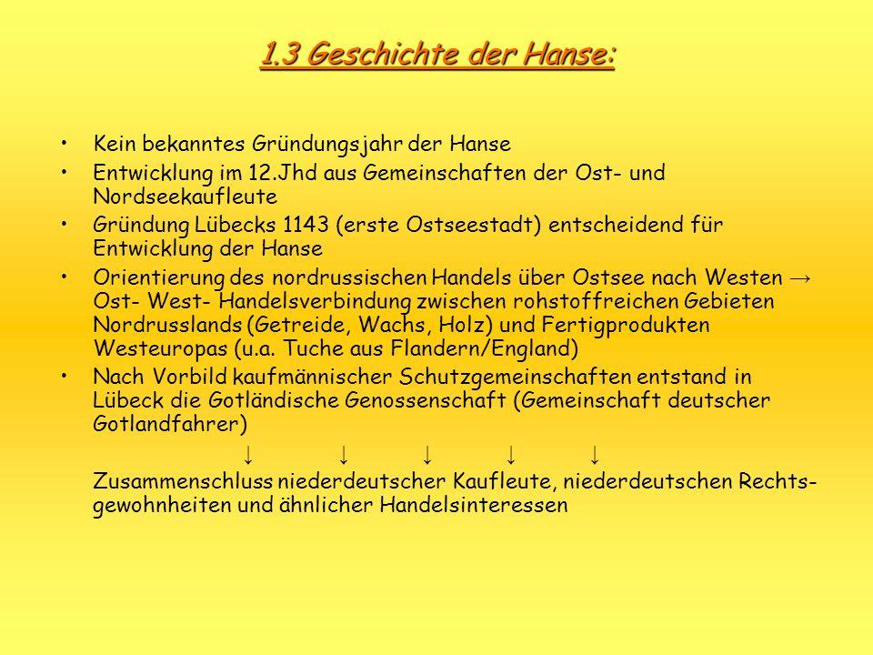1.3 Geschichte der Hanse: Kein bekanntes Gründungsjahr der Hanse