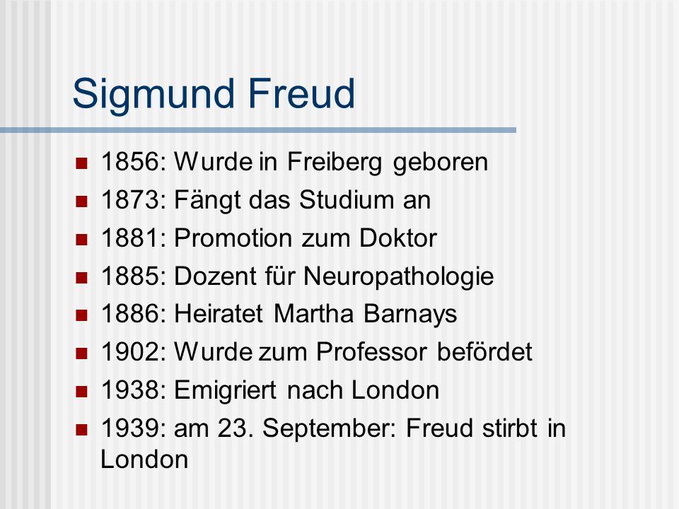 Sigmund Freud 1856: Wurde in Freiberg geboren