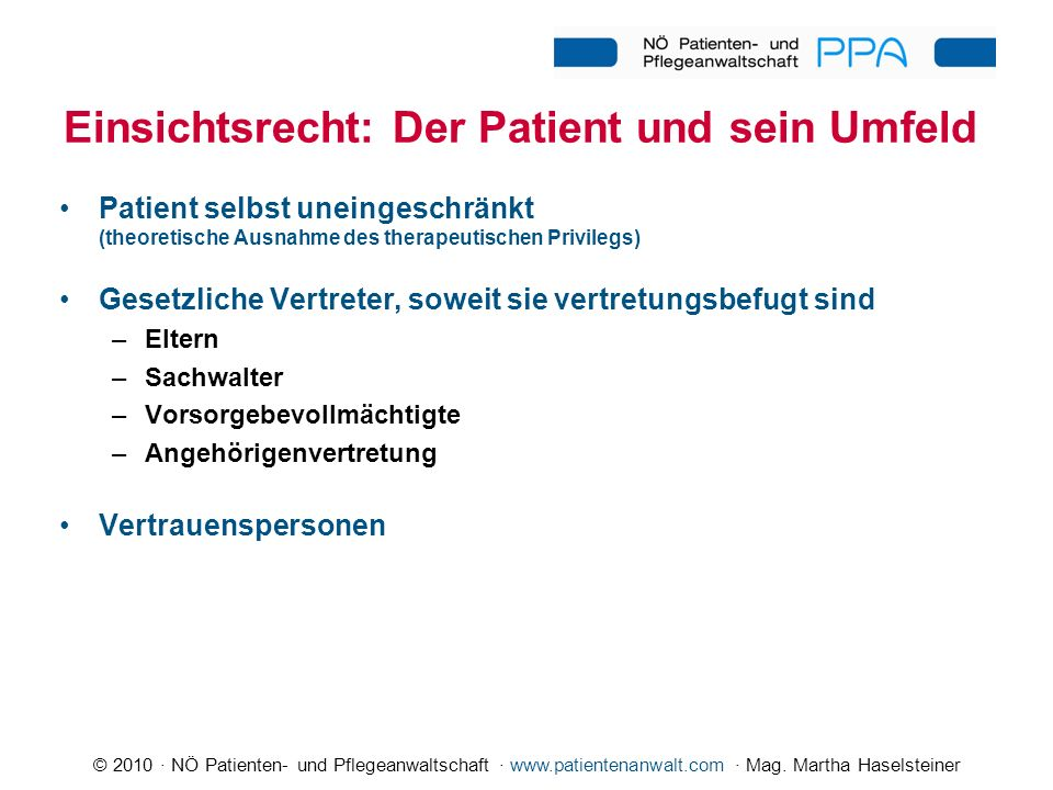 Einsichtsrecht: Der Patient und sein Umfeld