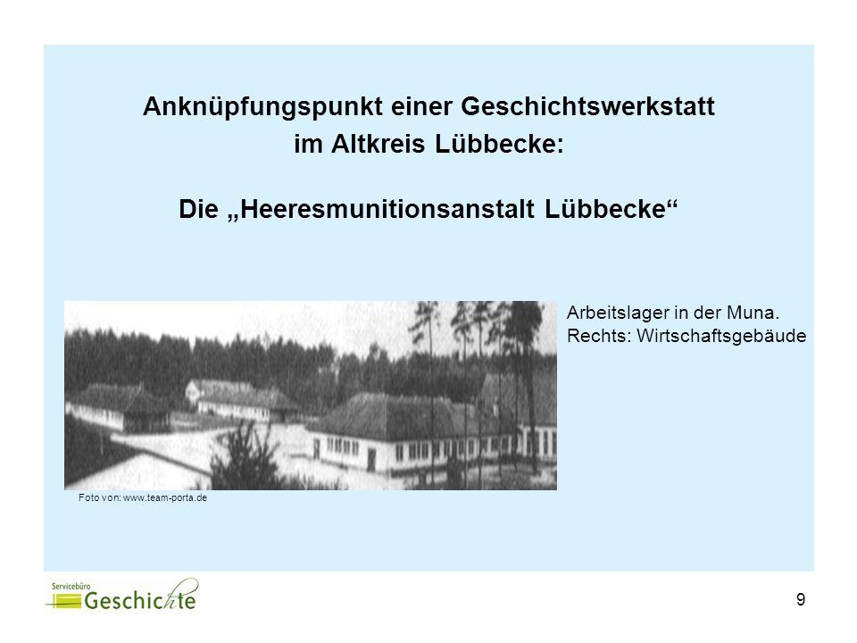 Anknüpfungspunkt einer Geschichtswerkstatt im Altkreis Lübbecke: