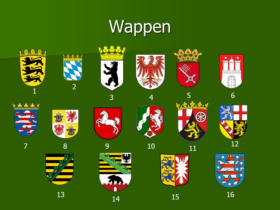 Wappen 2 1 5 6 3 4 12 7 8 9 10 11 13 16 15 14