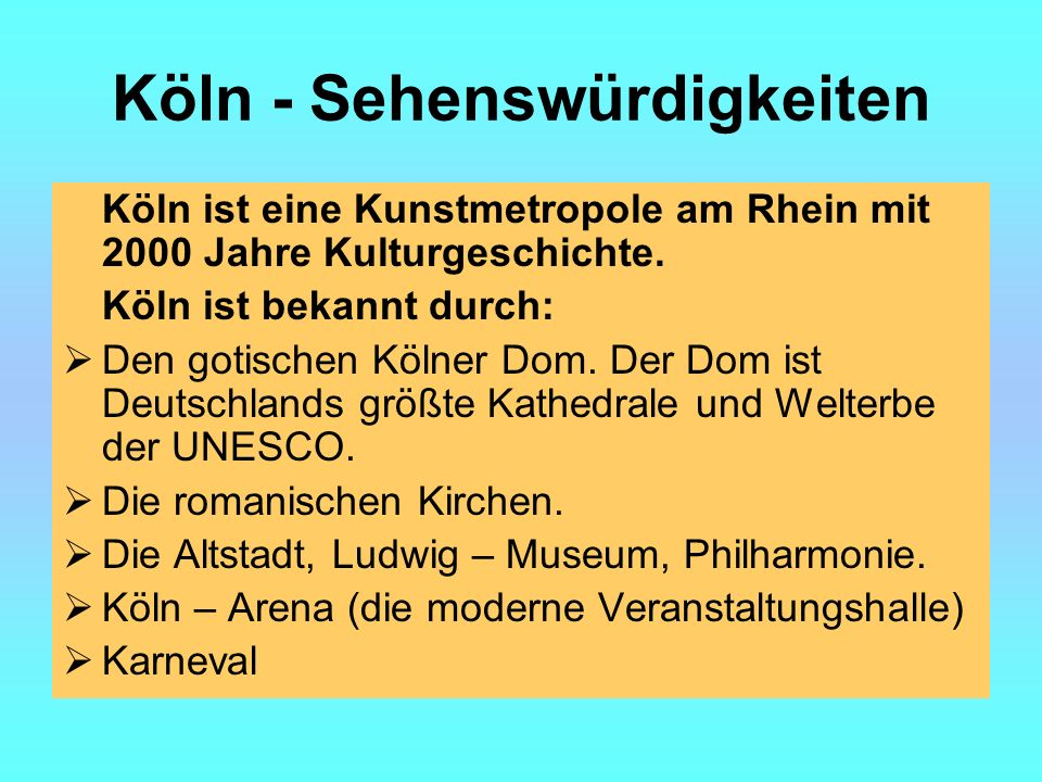 Köln - Sehenswürdigkeiten