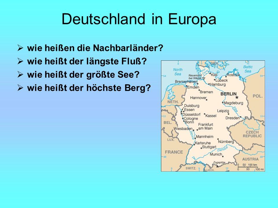 Deutschland in Europa wie heißen die Nachbarländer