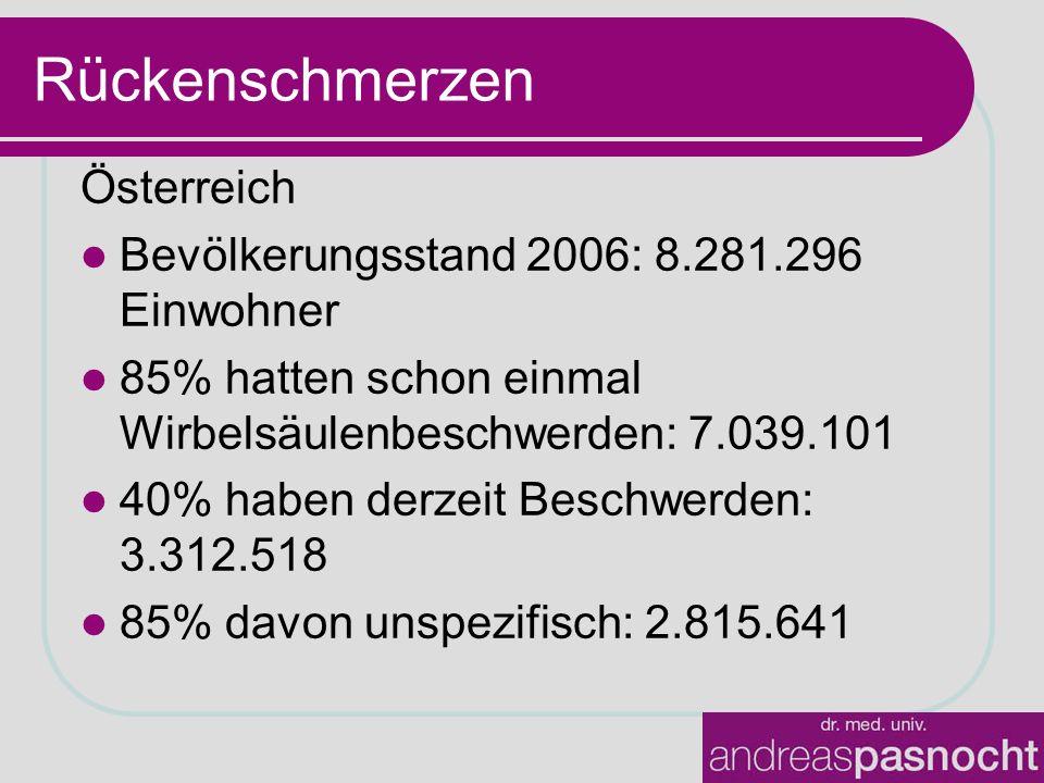 Rückenschmerzen Österreich Bevölkerungsstand 2006: 8.281.296 Einwohner