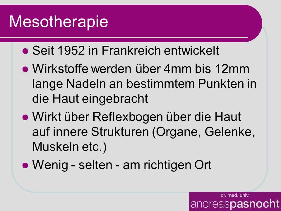 Mesotherapie Seit 1952 in Frankreich entwickelt