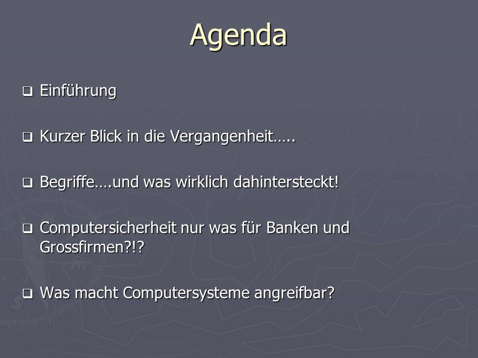 Agenda Einführung Kurzer Blick in die Vergangenheit…..