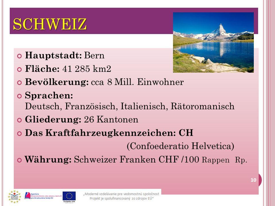 SCHWEIZ Hauptstadt: Bern Fläche: 41 285 km2