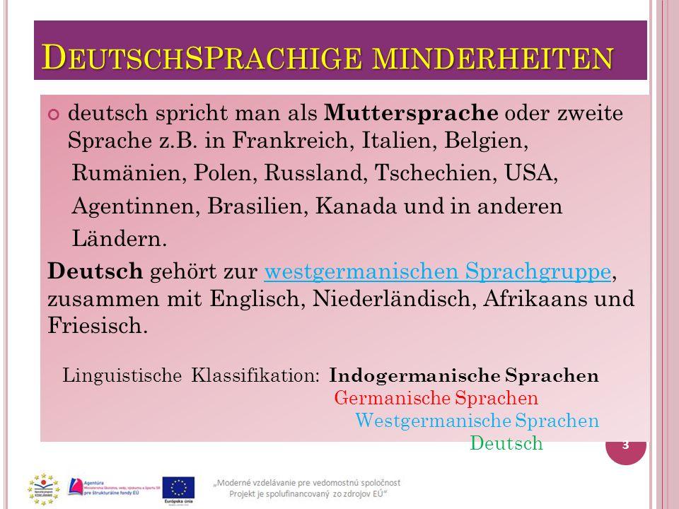 DeutschSPRACHIGE MINDERHEITEN