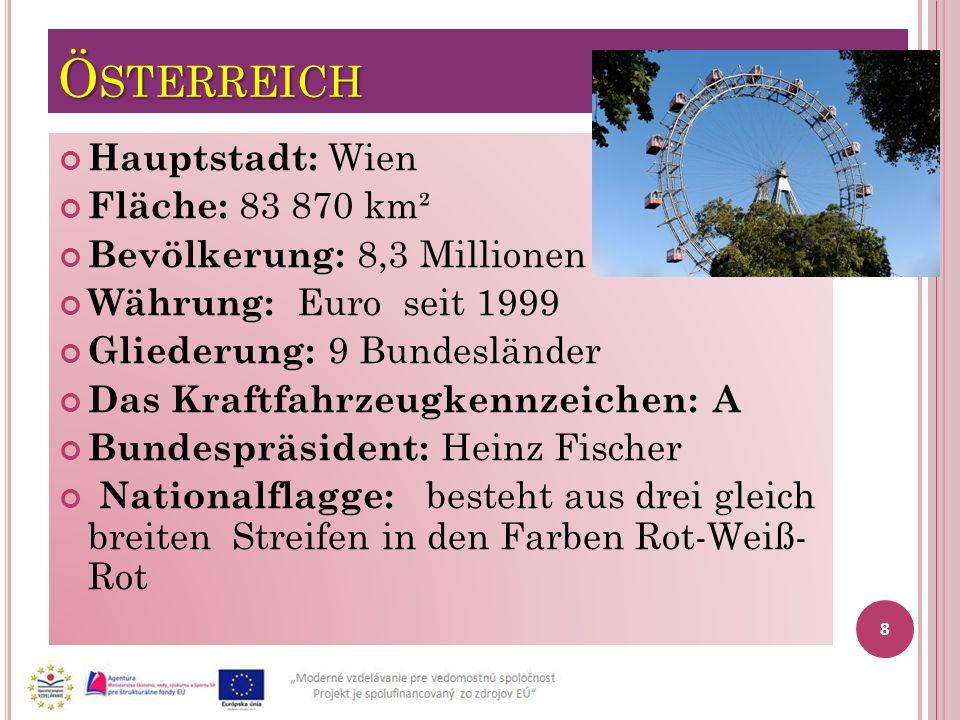 Österreich Hauptstadt: Wien Fläche: 83 870 km²