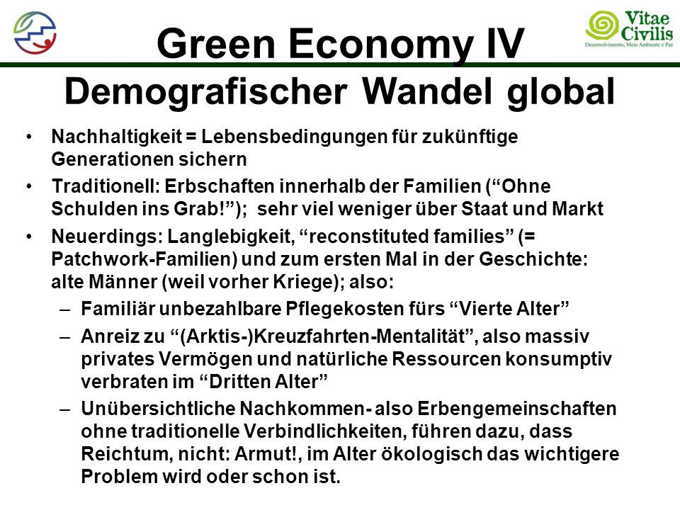 Green Economy IV Demografischer Wandel global