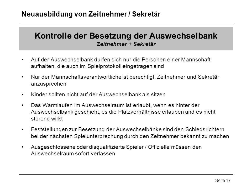 Kontrolle der Besetzung der Auswechselbank Zeitnehmer + Sekretär