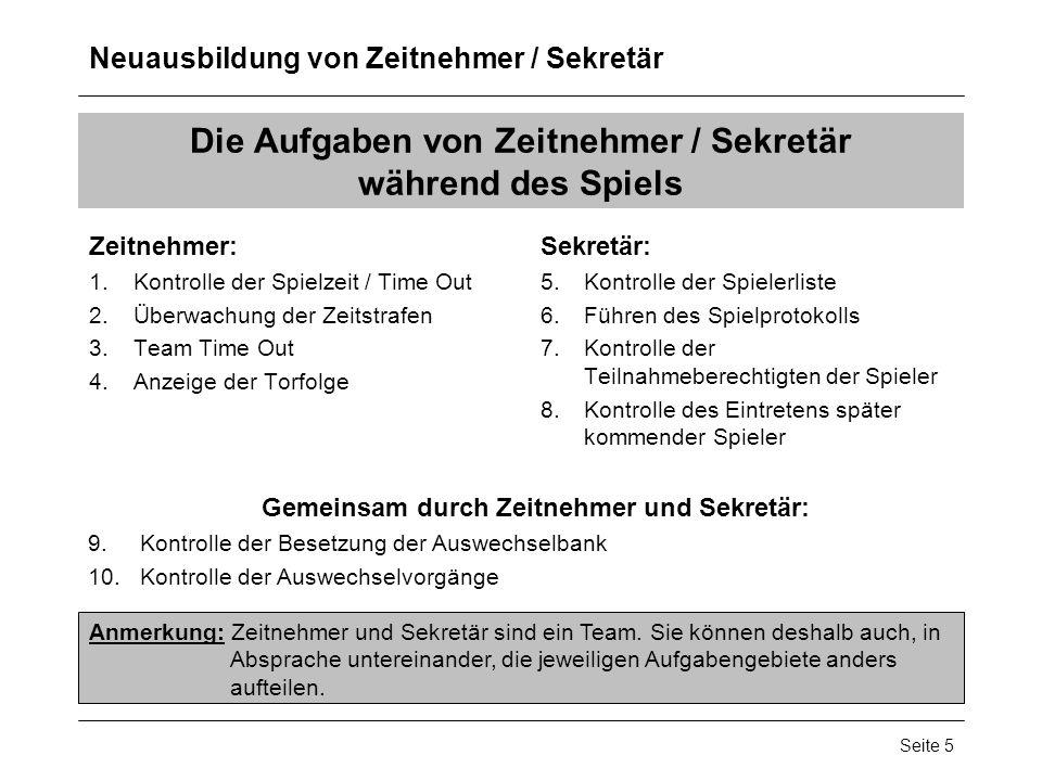 Die Aufgaben von Zeitnehmer / Sekretär während des Spiels