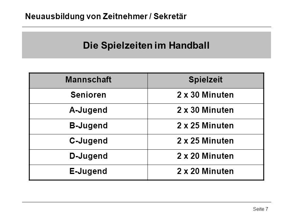 Die Spielzeiten im Handball