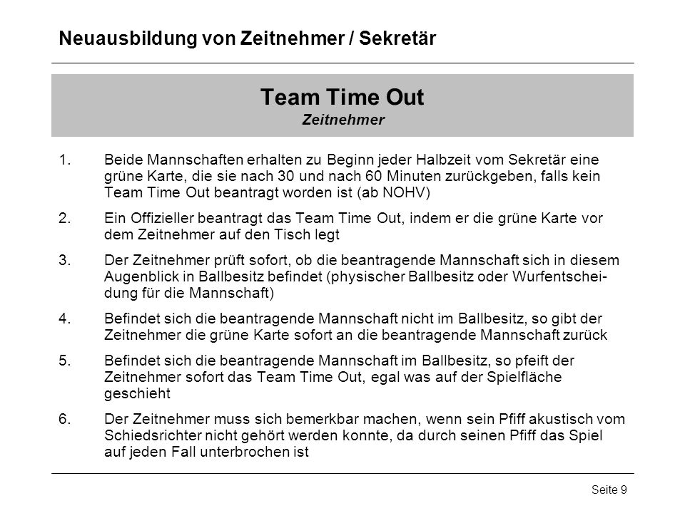 Team Time Out Zeitnehmer