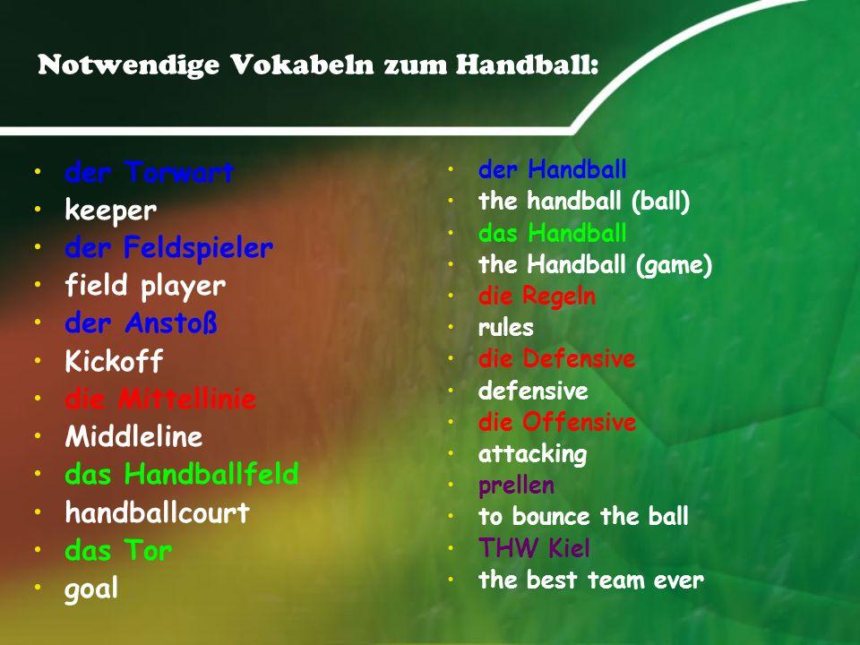 Notwendige Vokabeln zum Handball: