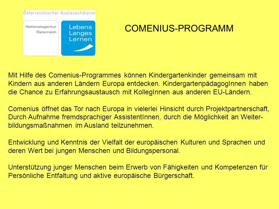 COMENIUS-PROGRAMM Mit Hilfe des Comenius-Programmes können Kindergartenkinder gemeinsam mit.