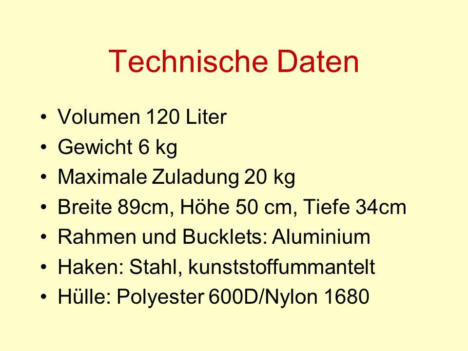Technische Daten Volumen 120 Liter Gewicht 6 kg