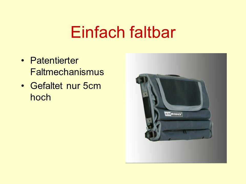 Einfach faltbar Patentierter Faltmechanismus Gefaltet nur 5cm hoch