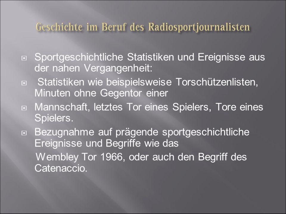 Sportgeschichtliche Statistiken und Ereignisse aus der nahen Vergangenheit: