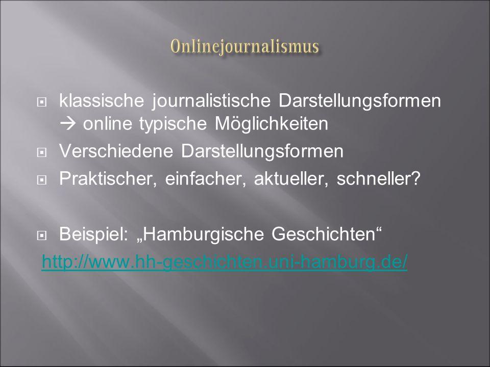 klassische journalistische Darstellungsformen  online typische Möglichkeiten
