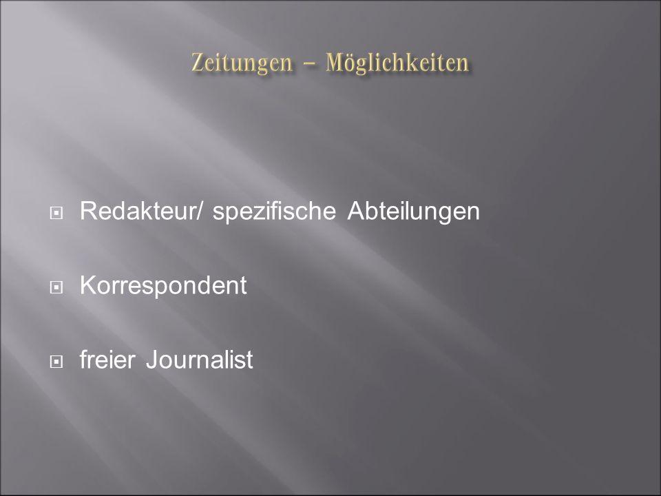 Redakteur/ spezifische Abteilungen