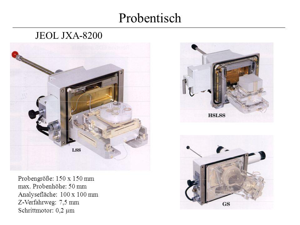 Probentisch JEOL JXA-8200. Probengröße: 150 x 150 mm max.