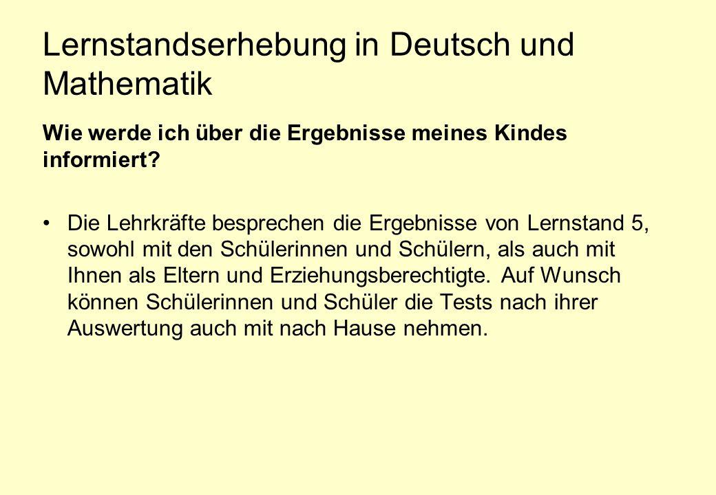 Lernstandserhebung in Deutsch und Mathematik