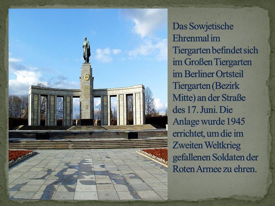 Das Sowjetische Ehrenmal im Tiergarten befindet sich im Großen Tiergarten im Berliner Ortsteil Tiergarten (Bezirk Mitte) an der Straße des 17.