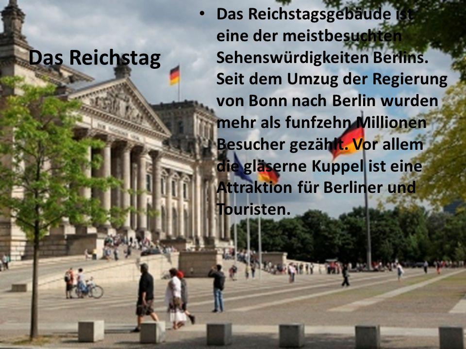 Das Reichstagsgebäude ist eine der meistbesuchten Sehenswürdigkeiten Berlins. Seit dem Umzug der Regierung von Bonn nach Berlin wurden mehr als funfzehn Millionen Besucher gezählt. Vor allem die gläserne Kuppel ist eine Attraktion für Berliner und Touristen.