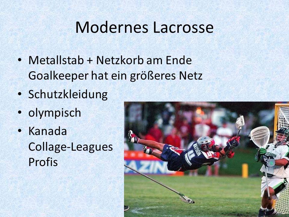 Modernes Lacrosse Metallstab + Netzkorb am Ende Goalkeeper hat ein größeres Netz. Schutzkleidung.