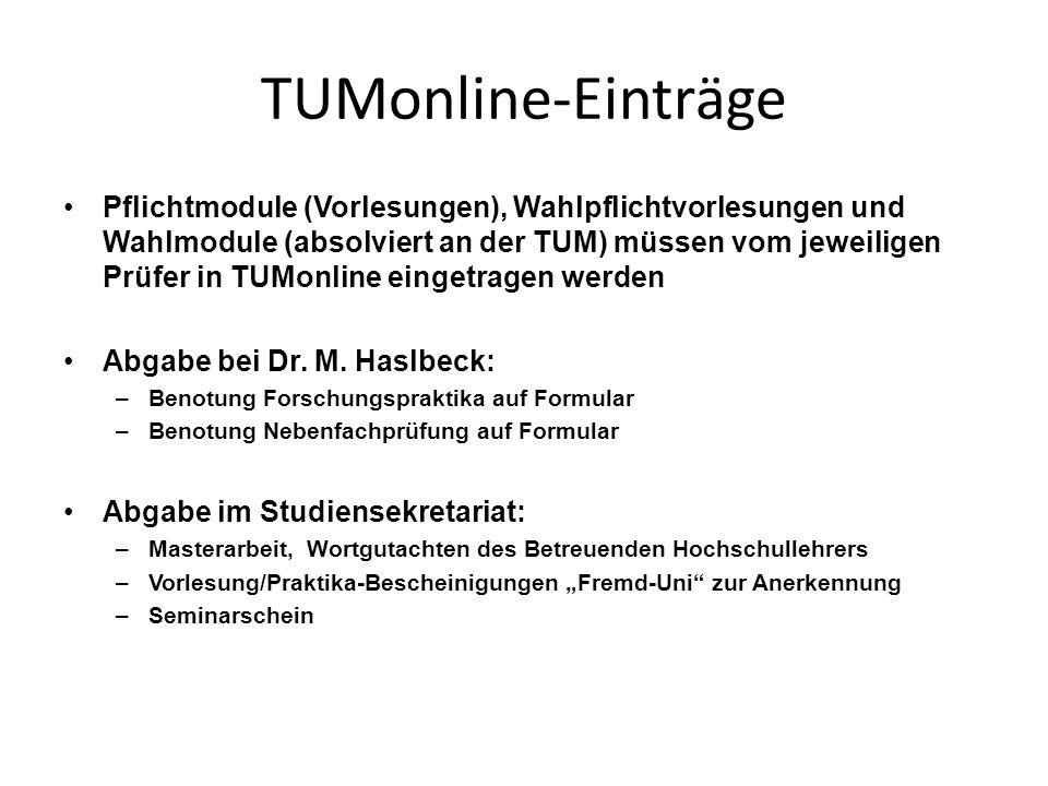 TUMonline-Einträge