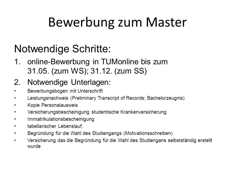Bewerbung zum Master Notwendige Schritte: